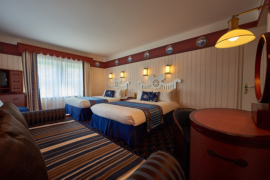 Nautically themed bedroom at Disney's Newport Bay Club Hotel